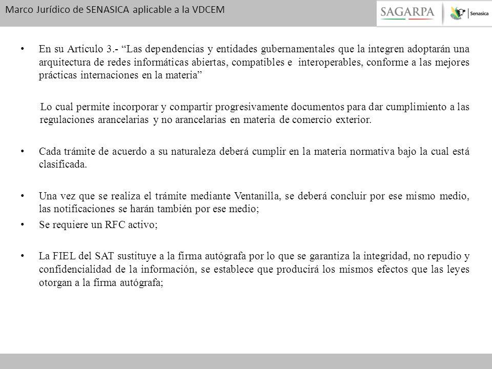 Marco Jurídico de SENASICA aplicable a la VDCEM En su Articulo 3.- Las dependencias y entidades gubernamentales que la integren adoptarán una arquitec