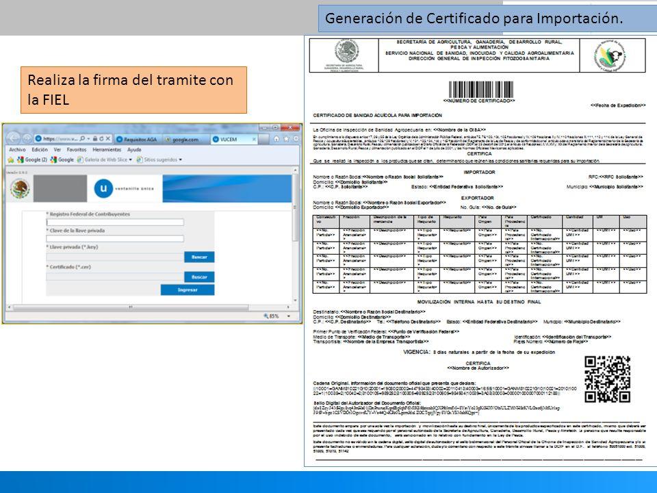 Generación de Certificado para Importación. Realiza la firma del tramite con la FIEL