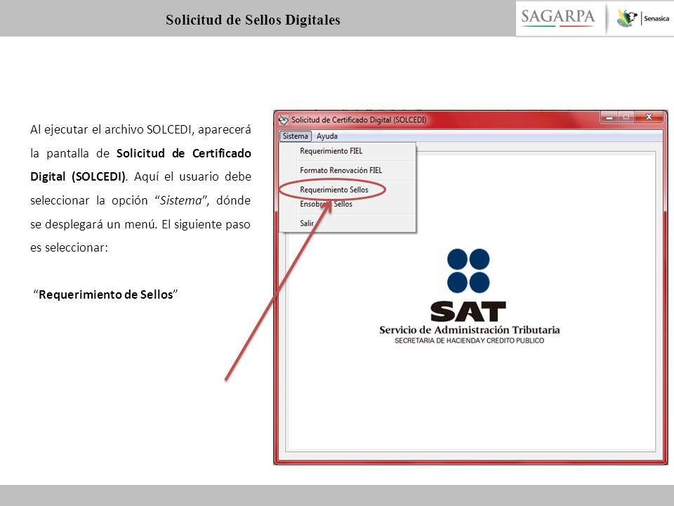 Al ejecutar el archivo SOLCEDI, aparecerá la pantalla de Solicitud de Certificado Digital (SOLCEDI). Aquí el usuario debe seleccionar la opción Sistem