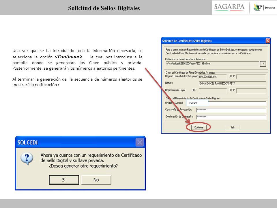 Una vez que se ha introducido toda la información necesaria, se selecciona la opción, la cual nos introduce a la pantalla donde se generaran las Clave