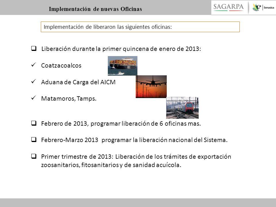 Implementación de liberaron las siguientes oficinas: Liberación durante la primer quincena de enero de 2013: Coatzacoalcos Aduana de Carga del AICM Ma