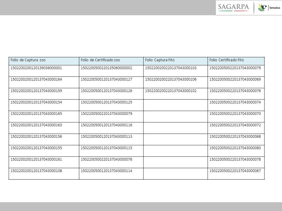 Folio de Captura zooFolio de Certificado zooFolio Captura FitoFolio Certificado Fito 15022002001201390360000011502200500220135060000002150220020022013