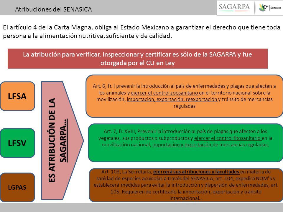 La atribución para verificar, inspeccionar y certificar es sólo de la SAGARPA y fue otorgada por el CU en Ley LFSA LFSV LGPAS Art. 6, fr. I prevenir l