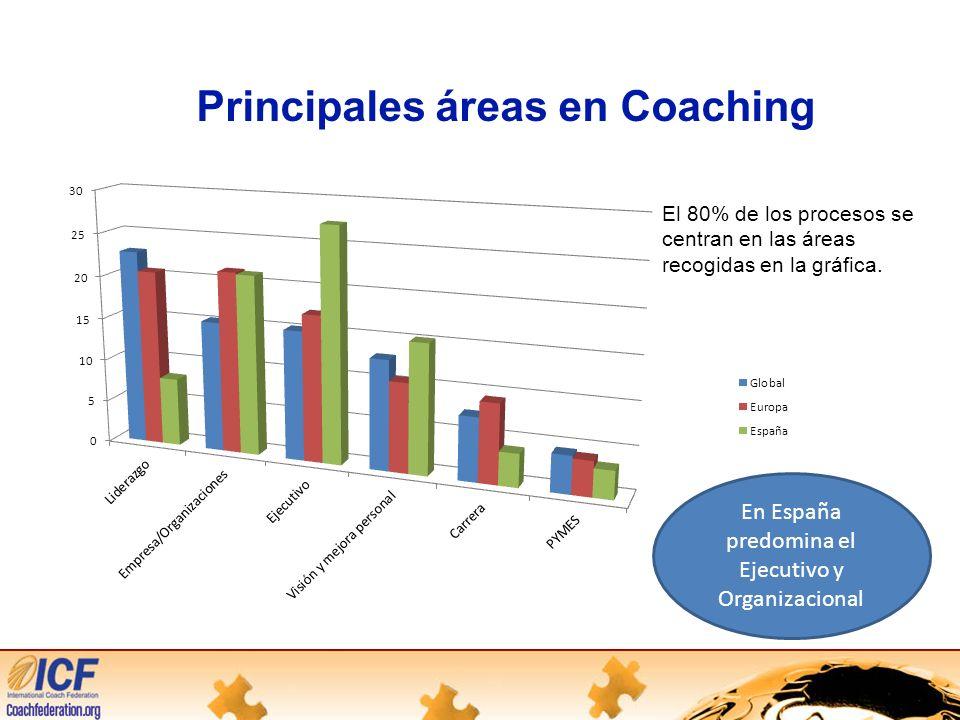 Principales áreas en Coaching El 80% de los procesos se centran en las áreas recogidas en la gráfica.