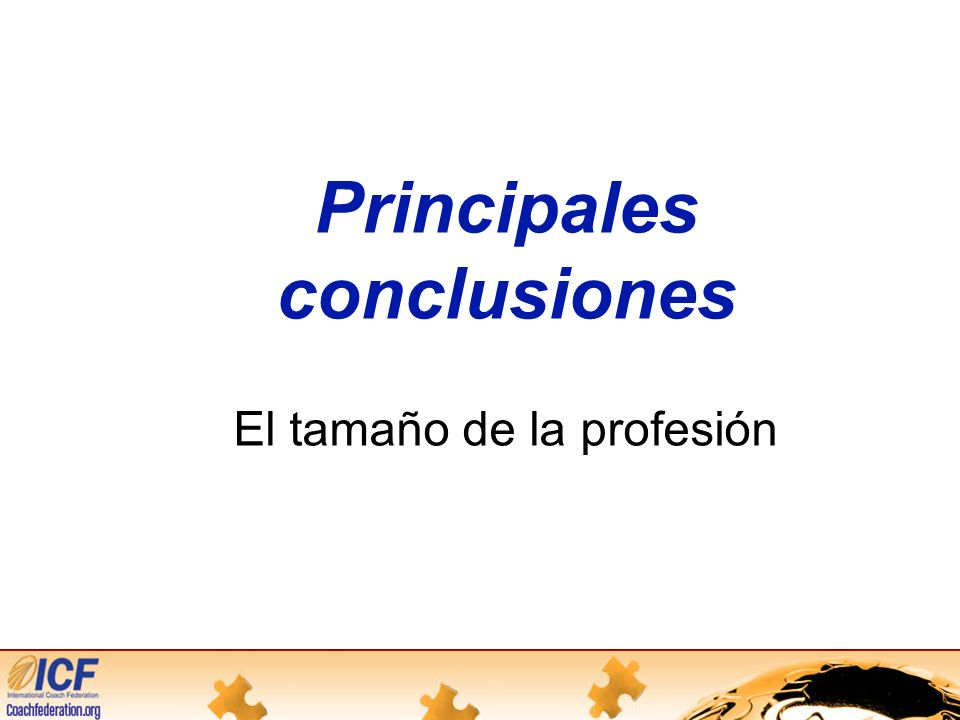 Principales conclusiones El tamaño de la profesión