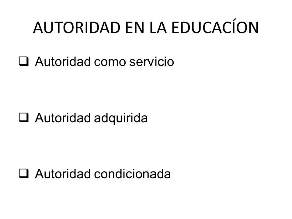 AUTORIDAD EN LA EDUCACÍON Autoridad como servicio Autoridad adquirida Autoridad condicionada