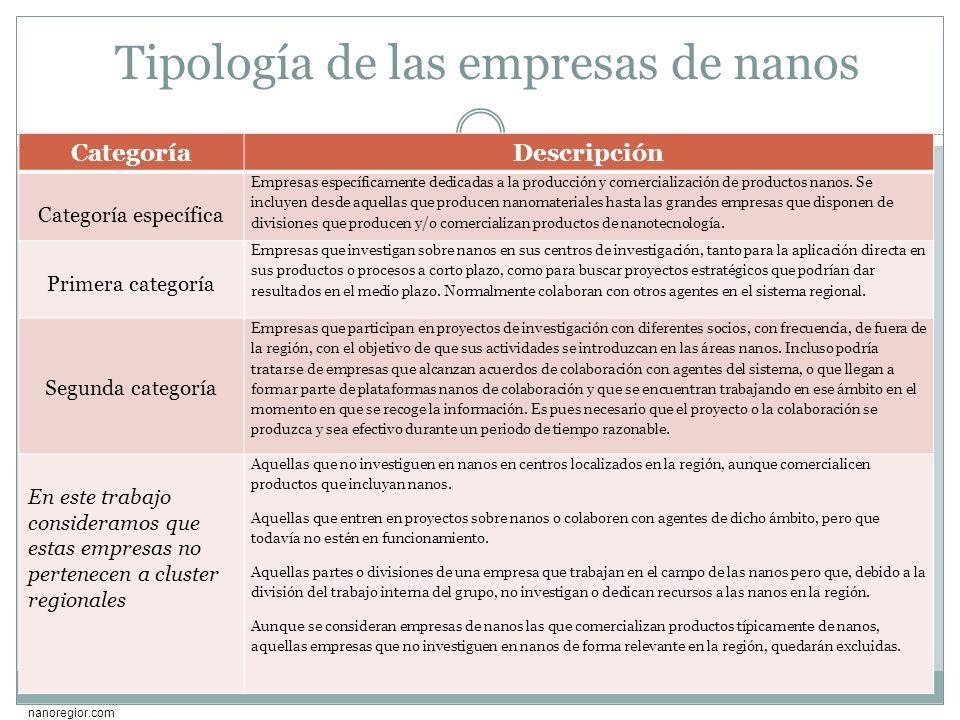 Tipología de las empresas de nanos CategoríaDescripción Categoría específica Empresas específicamente dedicadas a la producción y comercialización de
