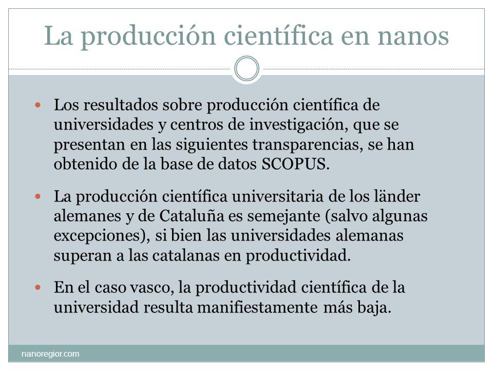 La producción científica en nanos Los resultados sobre producción científica de universidades y centros de investigación, que se presentan en las sigu