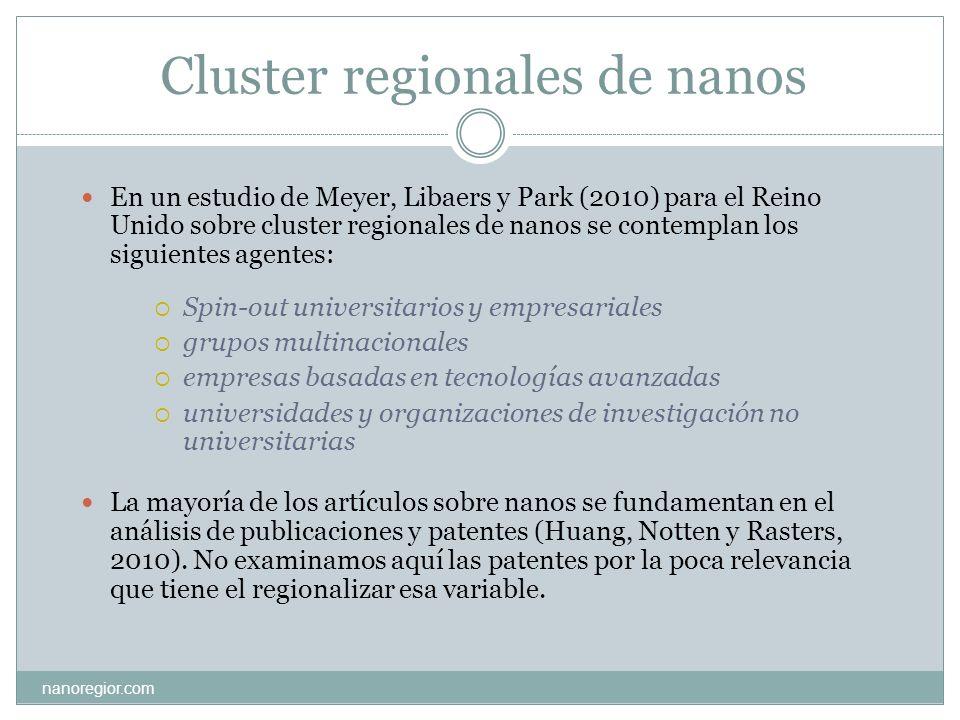 Cluster regionales de nanos En un estudio de Meyer, Libaers y Park (2010) para el Reino Unido sobre cluster regionales de nanos se contemplan los sigu