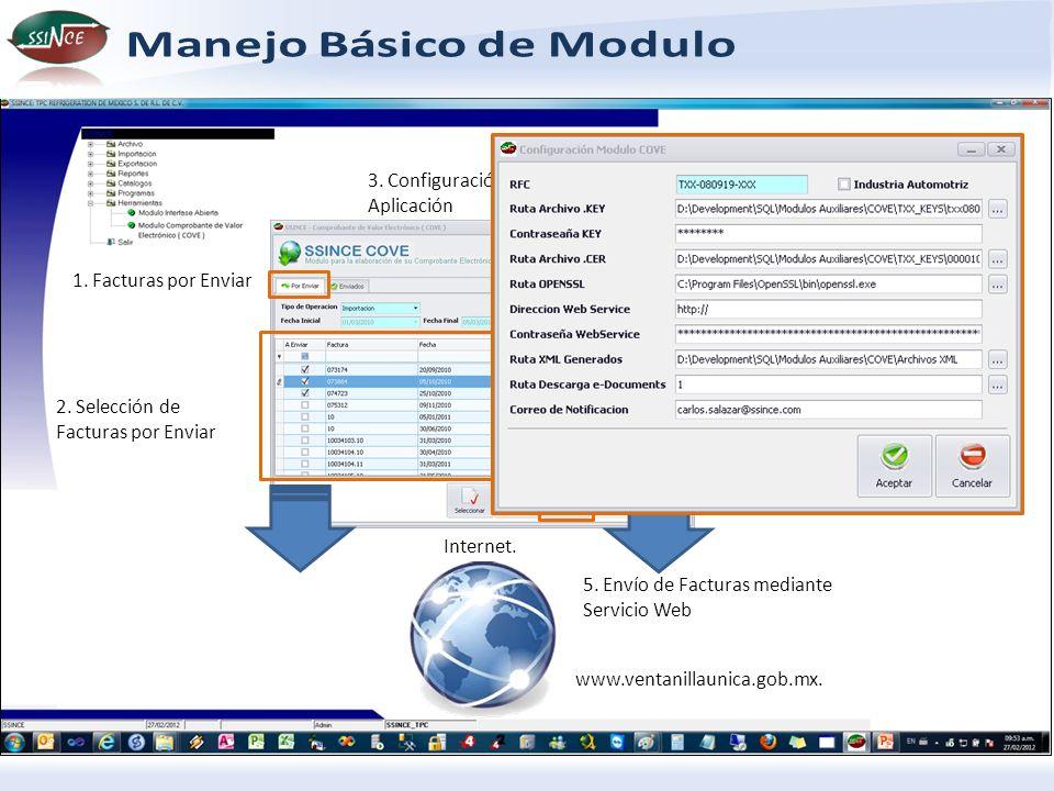 www.ventanillaunica.gob.mx. Internet. 1. Facturas por Enviar 2. Selección de Facturas por Enviar 3. Configuración de Aplicación 5. Envío de Facturas m