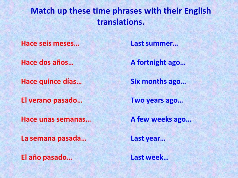 Using all the vocabulary we have learnt so far, translate these sentences into Spanish.