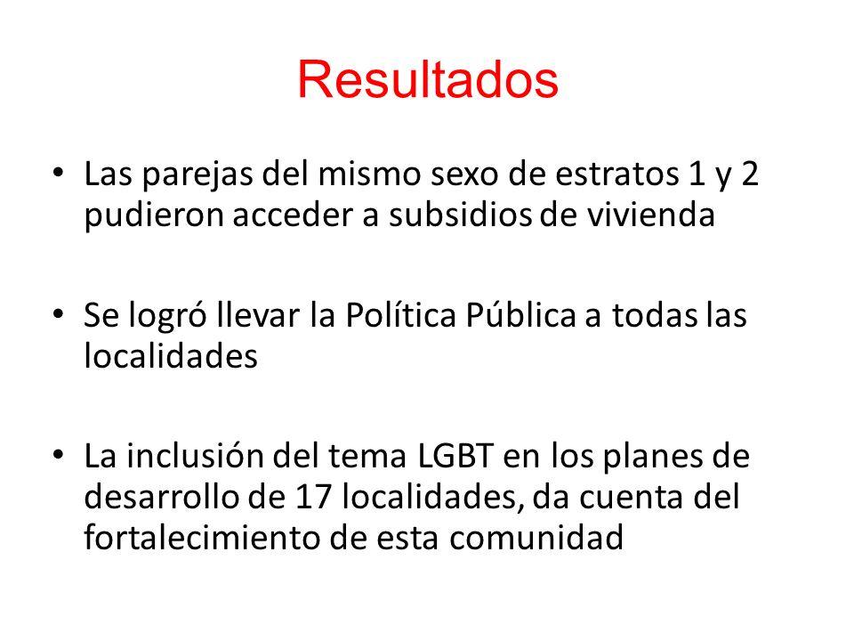 Las parejas del mismo sexo de estratos 1 y 2 pudieron acceder a subsidios de vivienda Se logró llevar la Política Pública a todas las localidades La i