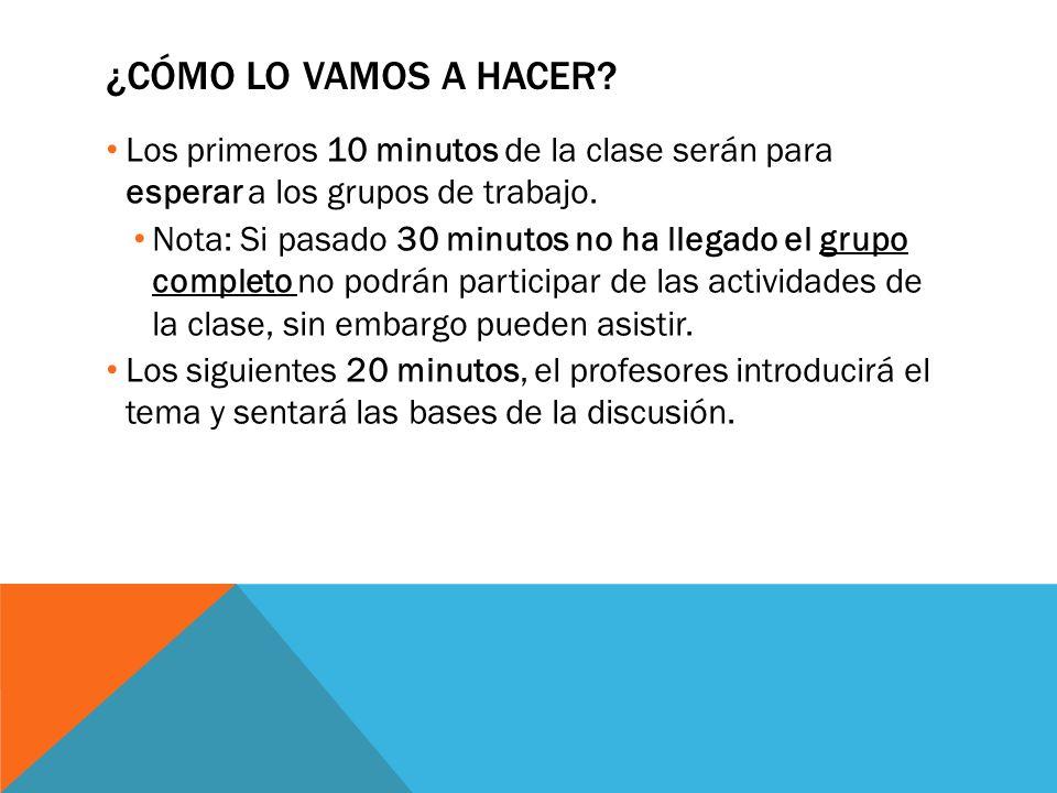 ¿CÓMO LO VAMOS A HACER? Los primeros 10 minutos de la clase serán para esperar a los grupos de trabajo. Nota: Si pasado 30 minutos no ha llegado el gr