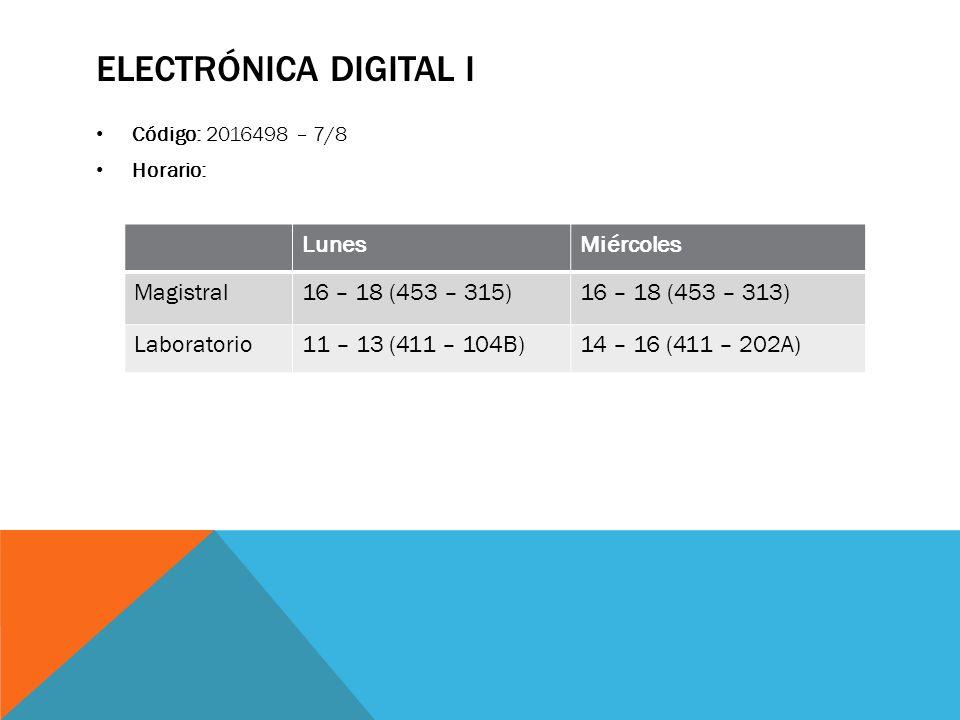 ELECTRÓNICA DIGITAL I Código: 2016498 – 7/8 Horario: LunesMiércoles Magistral16 – 18 (453 – 315)16 – 18 (453 – 313) Laboratorio11 – 13 (411 – 104B)14