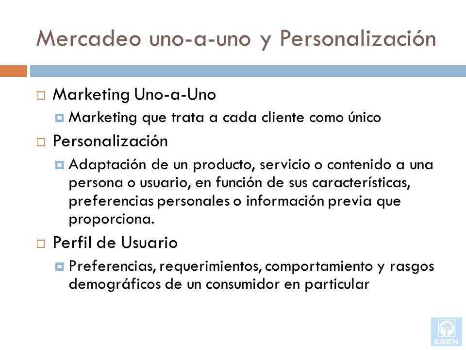 Mercadeo uno-a-uno y Personalización Marketing Uno-a-Uno Marketing que trata a cada cliente como único Personalización Adaptación de un producto, serv