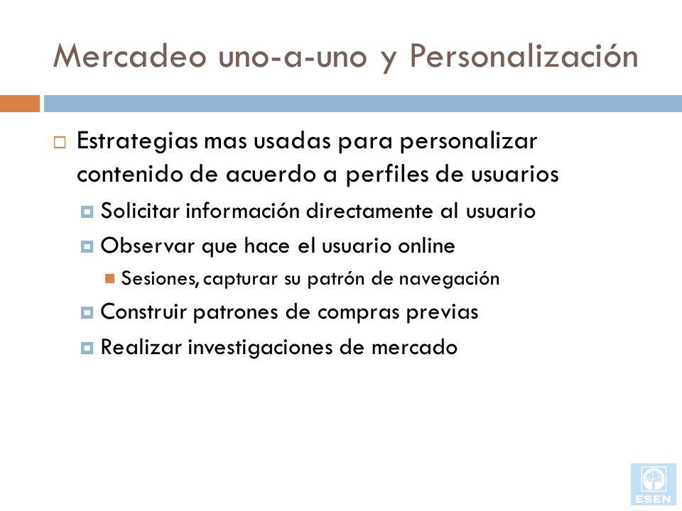 Estrategias mas usadas para personalizar contenido de acuerdo a perfiles de usuarios Solicitar información directamente al usuario Observar que hace e