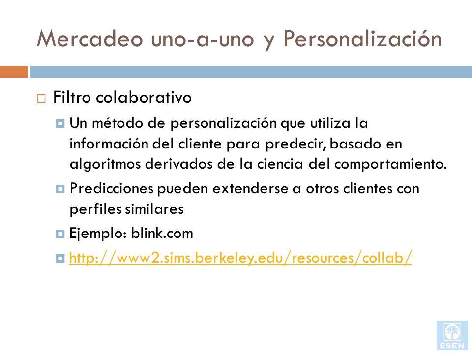 Mercadeo uno-a-uno y Personalización Filtro colaborativo Un método de personalización que utiliza la información del cliente para predecir, basado en
