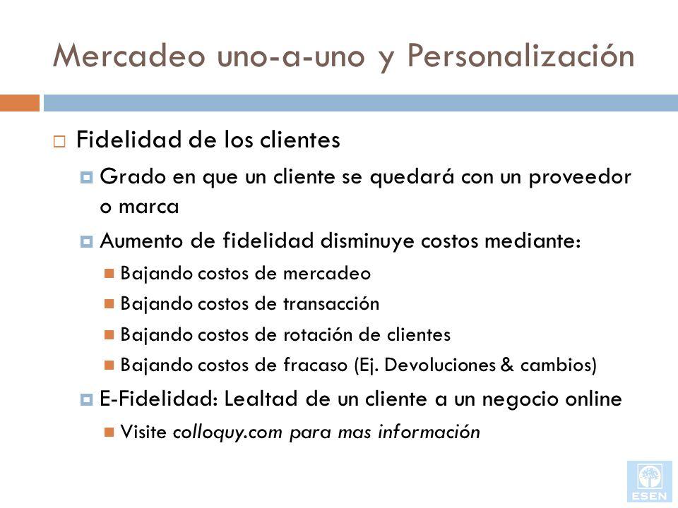 Mercadeo uno-a-uno y Personalización Fidelidad de los clientes Grado en que un cliente se quedará con un proveedor o marca Aumento de fidelidad dismin