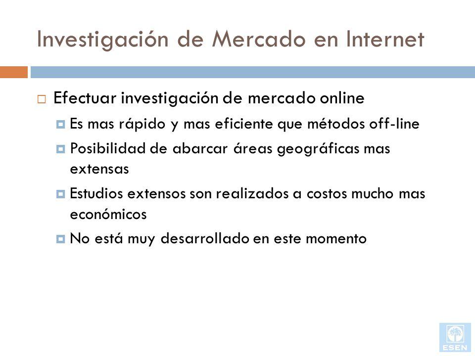 Investigación de Mercado en Internet Efectuar investigación de mercado online Es mas rápido y mas eficiente que métodos off-line Posibilidad de abarca