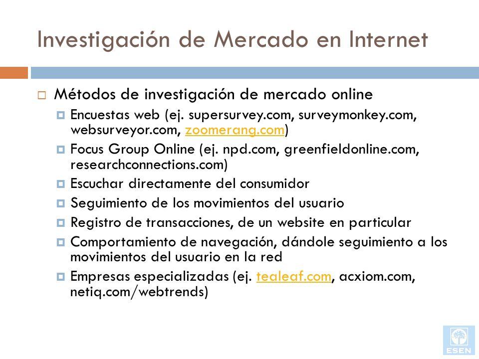 Investigación de Mercado en Internet Métodos de investigación de mercado online Encuestas web (ej. supersurvey.com, surveymonkey.com, websurveyor.com,