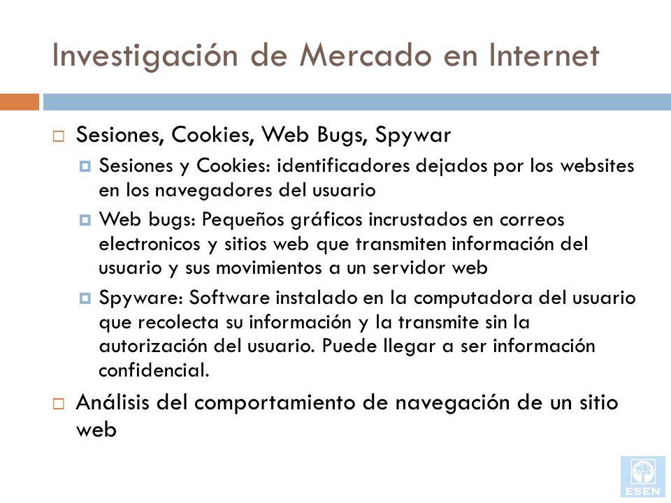 Investigación de Mercado en Internet Sesiones, Cookies, Web Bugs, Spywar Sesiones y Cookies: identificadores dejados por los websites en los navegador