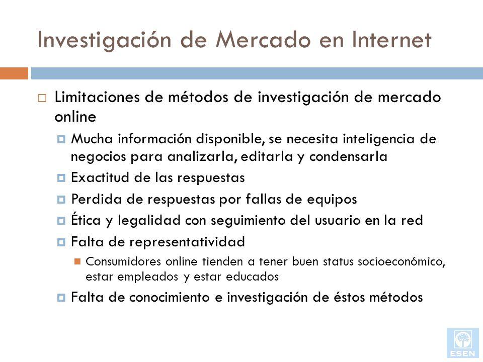 Investigación de Mercado en Internet Limitaciones de métodos de investigación de mercado online Mucha información disponible, se necesita inteligencia