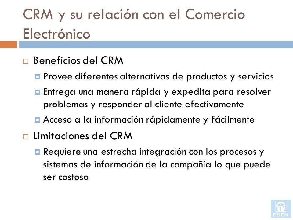 CRM y su relación con el Comercio Electrónico Beneficios del CRM Provee diferentes alternativas de productos y servicios Entrega una manera rápida y e