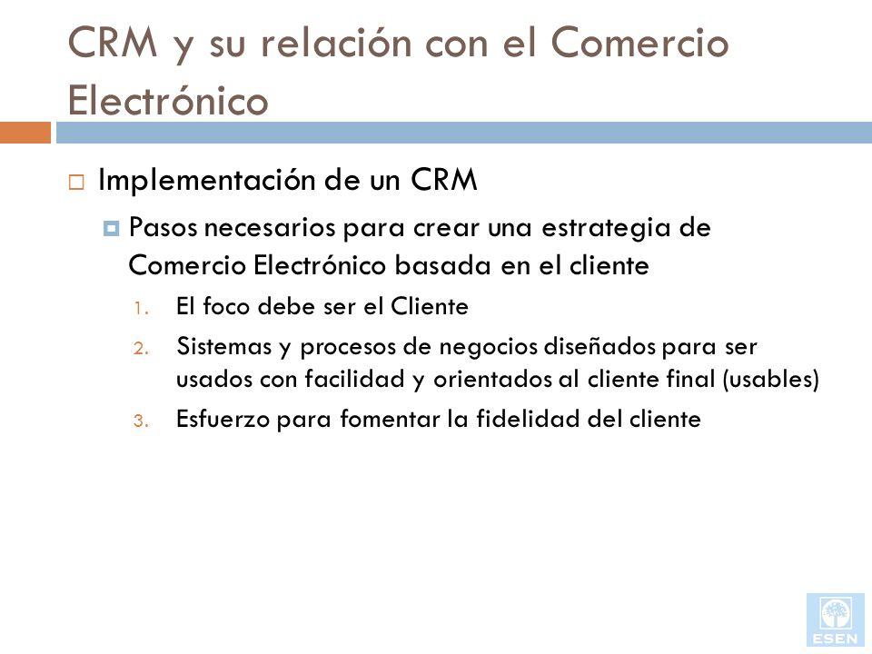 CRM y su relación con el Comercio Electrónico Implementación de un CRM Pasos necesarios para crear una estrategia de Comercio Electrónico basada en el