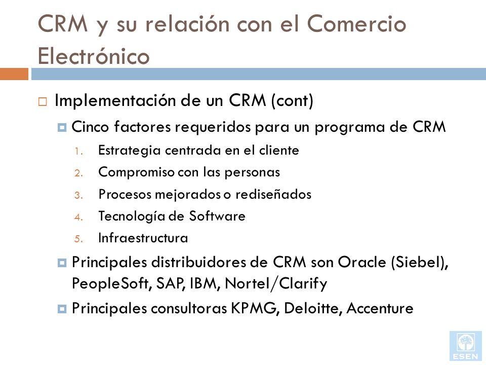 CRM y su relación con el Comercio Electrónico Implementación de un CRM (cont) Cinco factores requeridos para un programa de CRM 1. Estrategia centrada