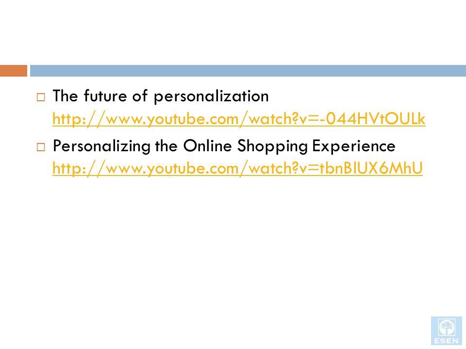 Mercadeo uno-a-uno y Personalización Filtro colaborativo Un método de personalización que utiliza la información del cliente para predecir, basado en algoritmos derivados de la ciencia del comportamiento.