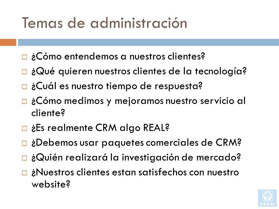 Temas de administración ¿Cómo entendemos a nuestros clientes? ¿Qué quieren nuestros clientes de la tecnología? ¿Cuál es nuestro tiempo de respuesta? ¿