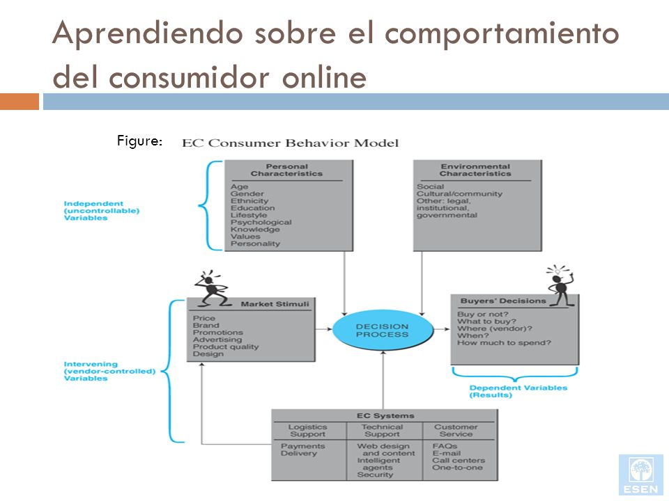 Aprendiendo sobre el comportamiento del consumidor online Variables independientes Características personales Variables del ambiente Variables sociales Variables culturales o de la comunidad Otras variables de ambiente