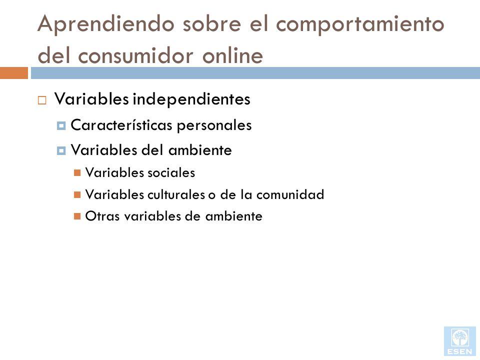 Aprendiendo sobre el comportamiento del consumidor online Variables interventoras o moderativas Son variables controladas por el vendedor Variables dependientes: Decisiones de la compra Los clientes toman varias decisiones ¿Comprar o no comprar.