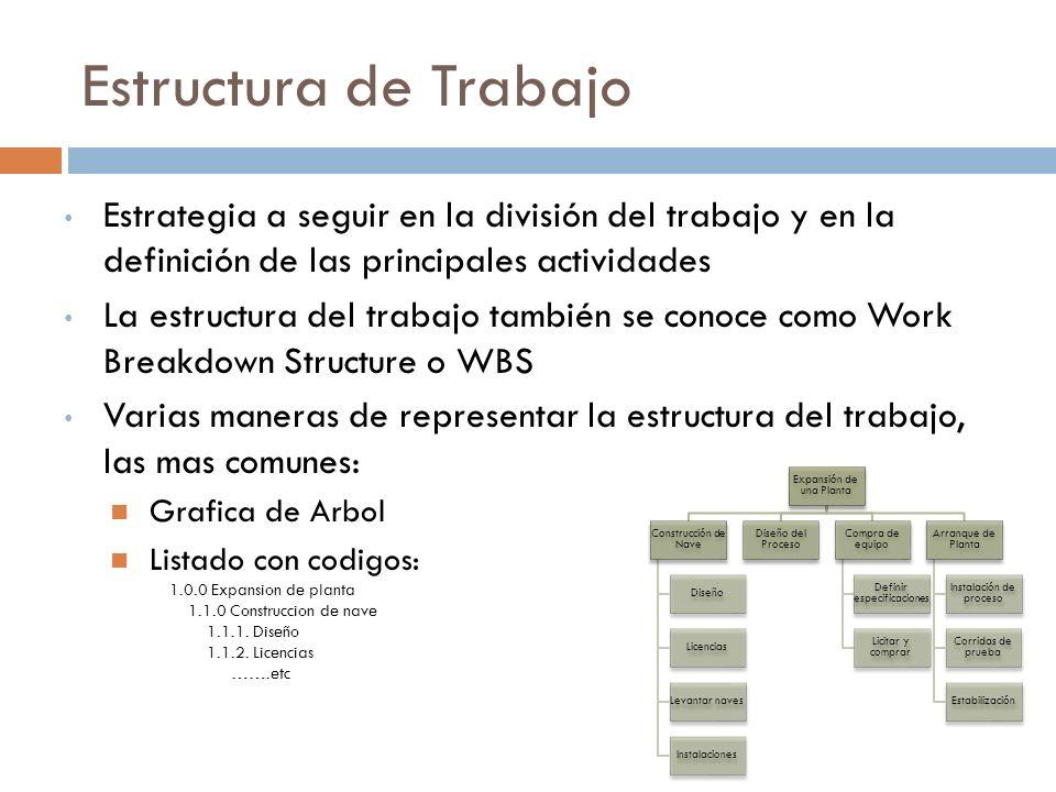 Estructura de Trabajo Estrategia a seguir en la división del trabajo y en la definición de las principales actividades La estructura del trabajo también se conoce como Work Breakdown Structure o WBS Varias maneras de representar la estructura del trabajo, las mas comunes: Grafica de Arbol Listado con codigos: 1.0.0 Expansion de planta 1.1.0 Construccion de nave 1.1.1.