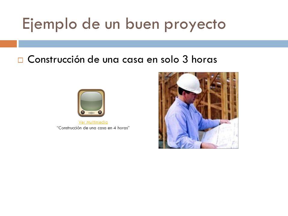 Ejemplo de un buen proyecto Construcción de una casa en solo 3 horas Ver Multimedia Ver Multimedia Construcción de una casa en 4 horas