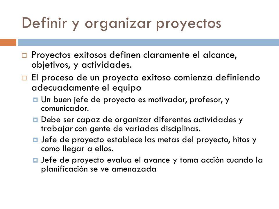 Definir y organizar proyectos El alcance define el objetivo del proyecto y determina los productos entregables Cambios en el alcance incrementan costos y retrasan el proyecto