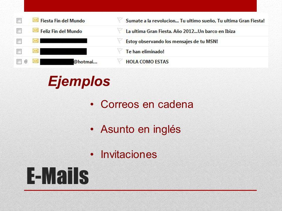 E-Mails Ejemplos Correos en cadena Asunto en inglés Invitaciones