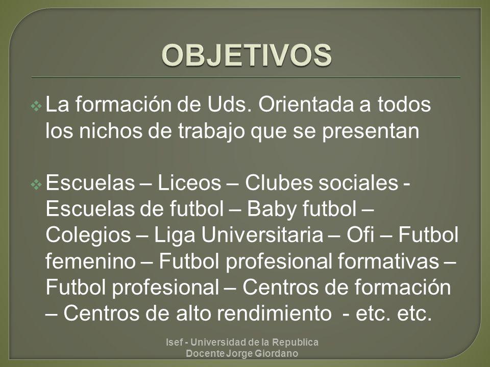 Introducción al deporte – conocer y comprender el juego Etapa de iniciación Etapa de formación Etapa de aprendizaje especifico Isef - Universidad de la Republica Docente Jorge Giordano