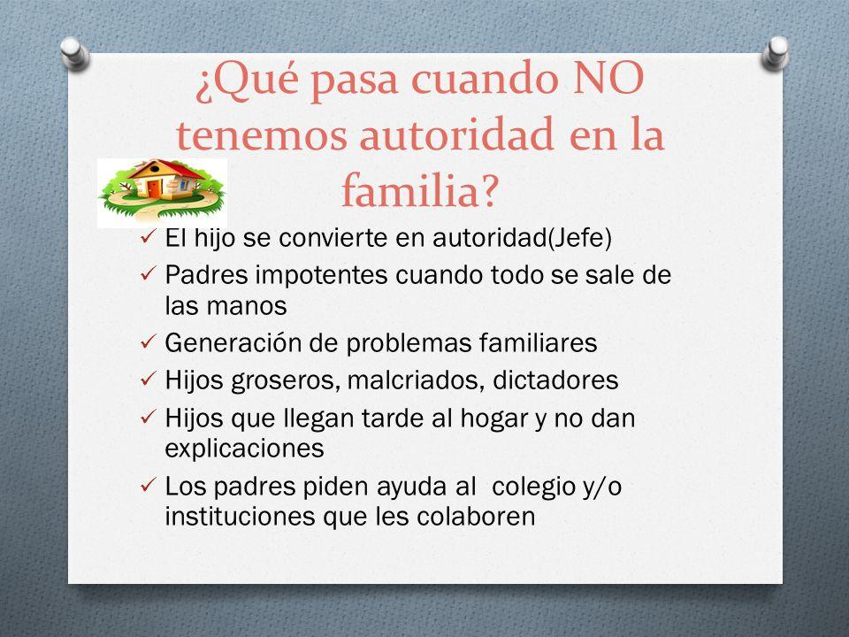 ¿Qué pasa cuando NO tenemos autoridad en la familia? El hijo se convierte en autoridad(Jefe) Padres impotentes cuando todo se sale de las manos Genera