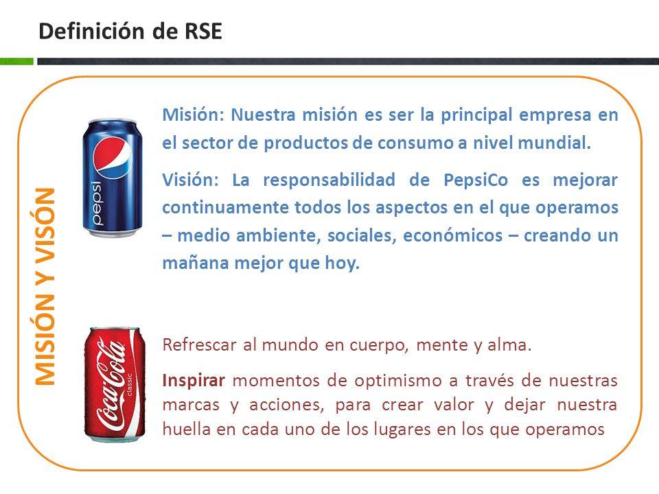 Definición de RSE MISIÓN Y VISÓN Misión: Nuestra misión es ser la principal empresa en el sector de productos de consumo a nivel mundial. Visión: La r