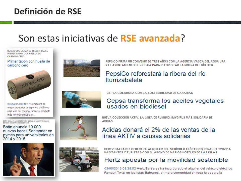 Definición de RSE Formas de afrontar la RSE Entienden la RSE: Es estratégica Oportunidad diferenciarse Es proactiva Reflejada en la Misión y Visión Entienden la RSE: No es estratégica Como elemento para reducir costes Reducir riesgos Suelen ser reactivos Entienden la RSE: Como algo no estratégico Como un coste Único objetivo el económico Externalizar costes