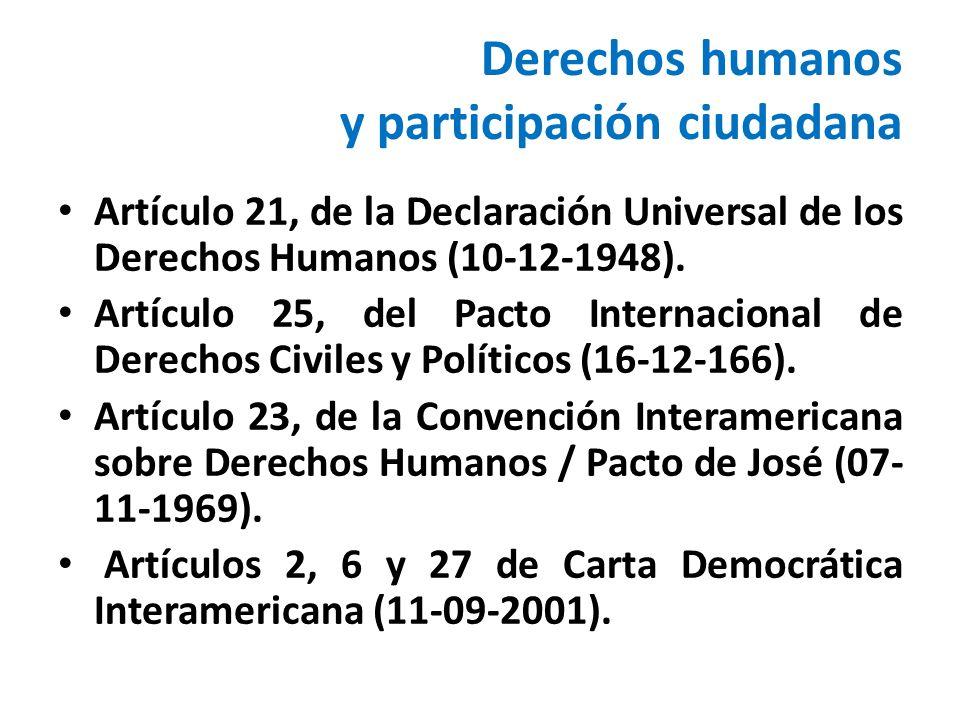 Derechos humanos y participación ciudadana Artículo 21, de la Declaración Universal de los Derechos Humanos (10-12-1948). Artículo 25, del Pacto Inter