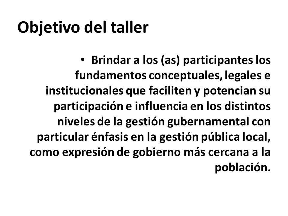 Objetivo del taller Brindar a los (as) participantes los fundamentos conceptuales, legales e institucionales que faciliten y potencian su participació