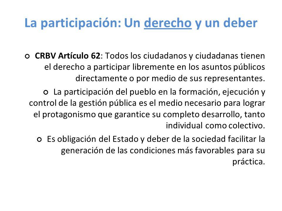 La participación: Un derecho y un deber CRBV Artículo 62: Todos los ciudadanos y ciudadanas tienen el derecho a participar libremente en los asuntos p