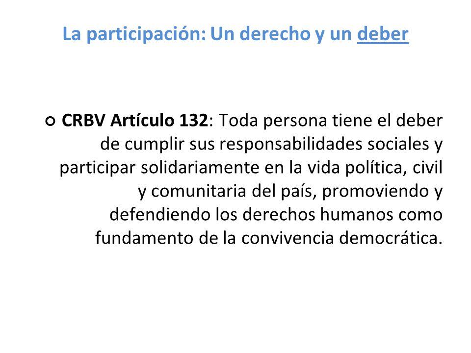 La participación: Un derecho y un deber CRBV Artículo 132: Toda persona tiene el deber de cumplir sus responsabilidades sociales y participar solidari