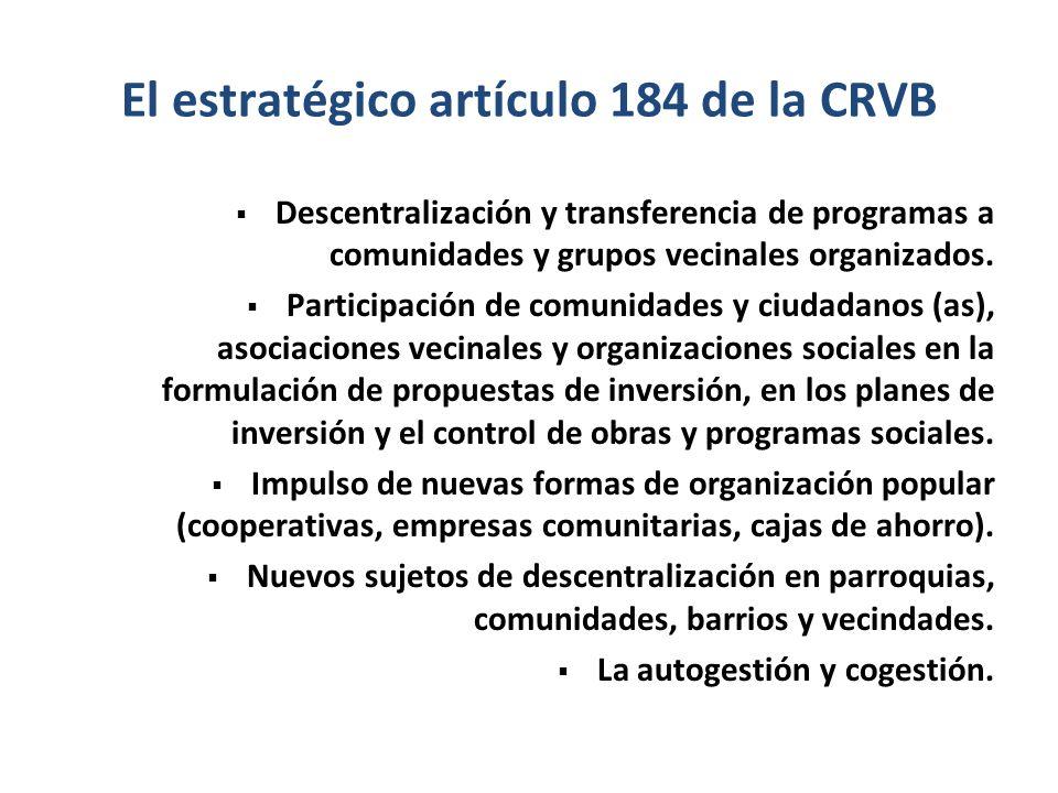 El estratégico artículo 184 de la CRVB Descentralización y transferencia de programas a comunidades y grupos vecinales organizados. Participación de c