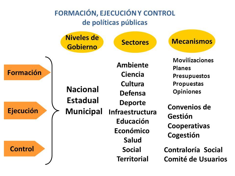 FORMACIÓN, EJECUCIÓN Y CONTROL de políticas públicas Formación Ejecución Control Niveles de Gobierno Sectores Mecanismos Nacional Estadual Municipal A