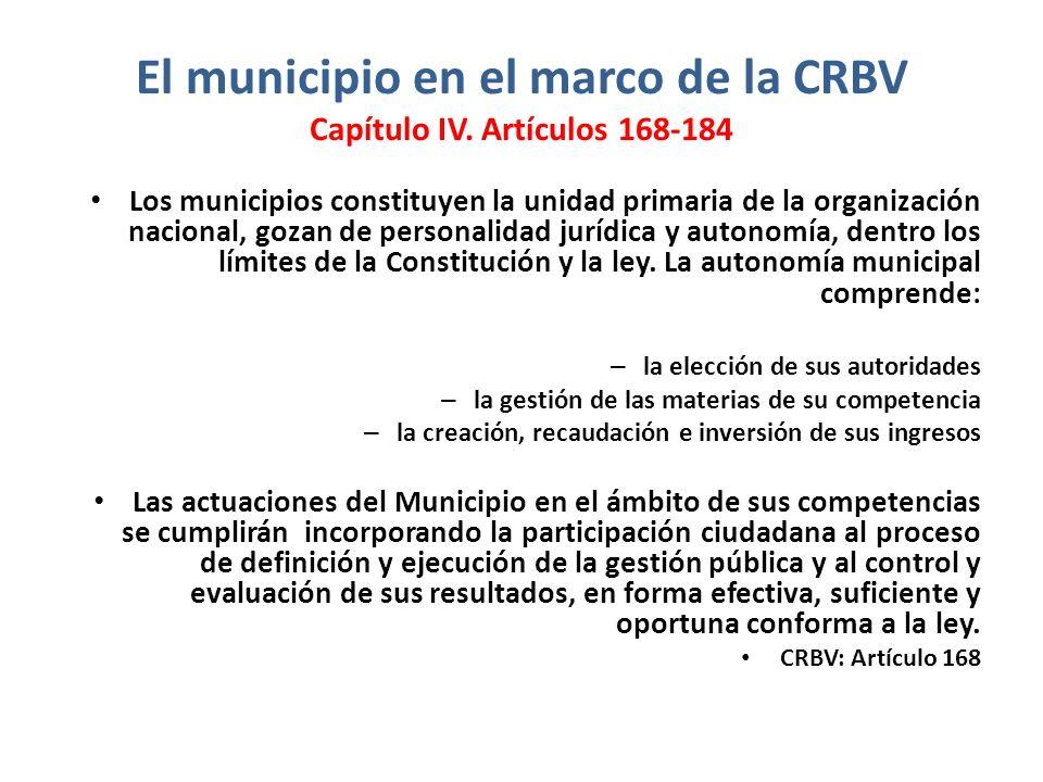 El municipio en el marco de la CRBV Capítulo IV. Artículos 168-184 Los municipios constituyen la unidad primaria de la organización nacional, gozan de