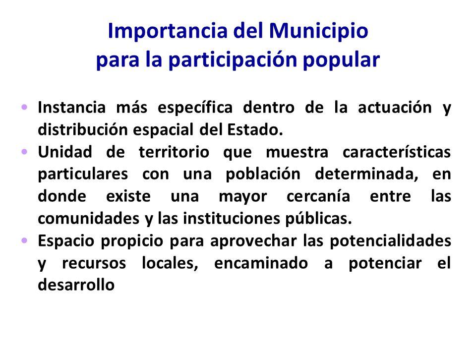 Importancia del Municipio para la participación popular Instancia más específica dentro de la actuación y distribución espacial del Estado. Unidad de