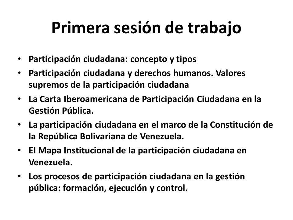 Primera sesión de trabajo Participación ciudadana: concepto y tipos Participación ciudadana y derechos humanos. Valores supremos de la participación c